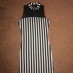 {Forever 21} fitted sheer striped mini dress S